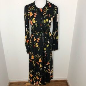 Zara Oriental Floral Button Front Maxi Dress